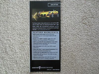 2007 Pontiac Solstice And Gxp Feature Highlights Brochure Very Cool