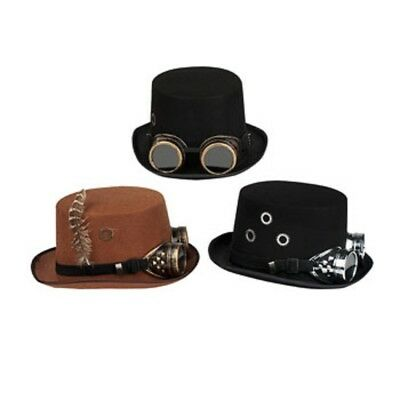 Victorian Deluxe Steampunk Top Hat Goggles Industrial Gears Feathers Costume 9f827dc63a46