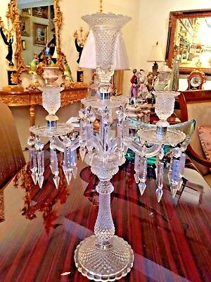 Baccarat Style  Pair of Antique Hand-Cut French 3-light Crystal Candelabra