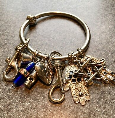 Charms Lot Of 7 Hand Of Fatima Star Of David More Religious Vintage