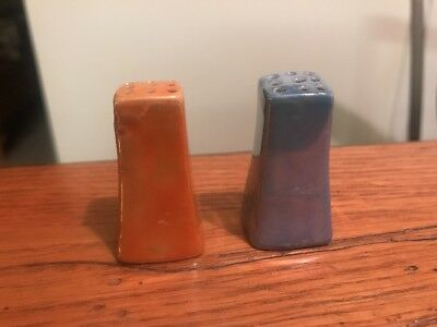 Vintage Peach ~ Blue ~ Salt And Pepper Shakers Made In Japan