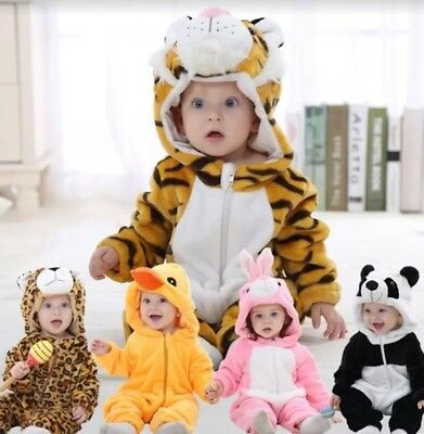 Baby Unisex Animal Costume Hooded Romper Flannel Cosplay Outfits