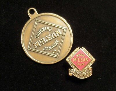 Vintage McLEAN TRUCKING Company Safe Driver Lapel Pin  and 50 Year Service Anniv