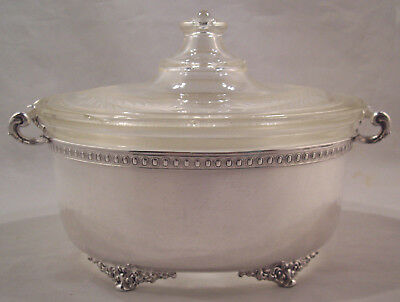 Derby/International Silverplate Oval Frame#3226-1/2 Early Pyrex Dish/Lid 193-197