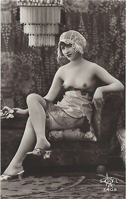 Rare original old French real photo postcard Art Deco nude study 1920s RPPC #306