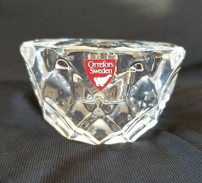 NWT SIGNED Orrefors Crystal Geometric Votive candle holder