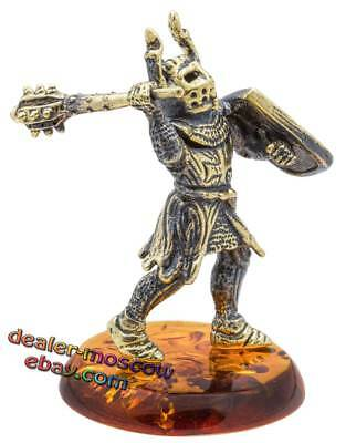 Bronze Solid Brass Baltic Amber Figurine Knight Crusader with a Mace Statuette