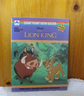 VINTAGE DISNEY\'S THE LION KING GIANT PAINT WITH WATER coloring Book ...