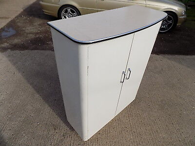 1950's,white,painted,formica,cupboard,bow top,cabinet,shelves,vintage,retro
