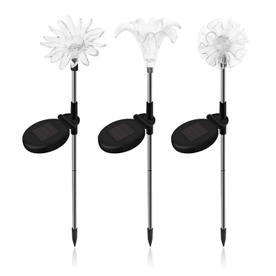 SAPPYWOON Outdoor Solar Flower Garden Lights- 3pcs LED Multi-Color Stake Lights