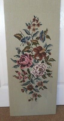 Large vintage completed tapestry flowers roses floral pink white