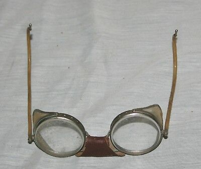 Vintage Pair Of Metal Frame/glass Lens Safety Glasses With Round Lenses
