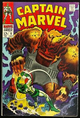 Captain Marvel #6 1968 Sharp Tight Fn+ Versus The Strength Of Solam!!