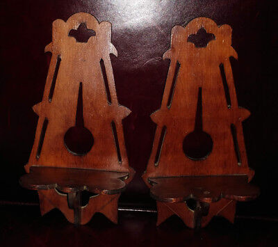 Vintage 1920 Folk Art Pair Arts & Crafts ERA Wooden Shelves Handcrafted Original