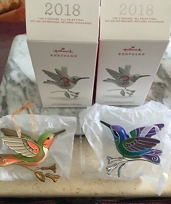 Hallmark 2018 Hummingbird Surprise  Mystery Ornaments Set Of 2 Golden And Green