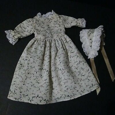 "Vintage 12"" DOLL Clothes French Fashion Floral White Lace Long DRESS Gown Bonnet"
