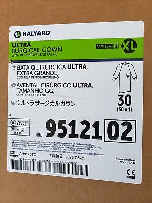 Xl Halyard Ultra Surgical Gown W/polypropylene Fab Aami Level 3 95121 Case Of 30
