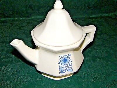 Small Porcelain Avon Teapot / Candle Holder White Blue Floral Motif Simple Sweet