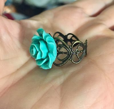 Retro Statement Ring 20mm Turquoise Resin Rose Cabochon Filigree Adjustable Band