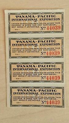 1915 Panama-Pacific International Exposition 4 Attached admission tickets - SALE