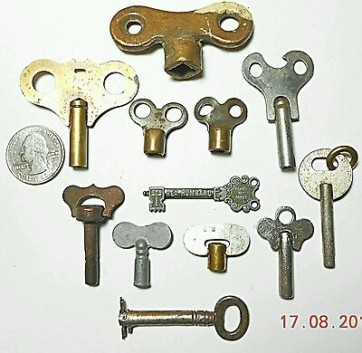 12 Mixed Lot of Clock Toy Gas Water Skeleton Key Brass Metal Antique