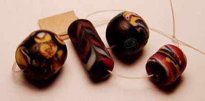 Four Ancient Beads Phoenician Longest One 19.47 mm Rare #4