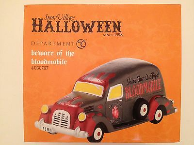 Dept 56 Snow Village Halloween BEWARE OF THE BLOODMOBILE Brand New