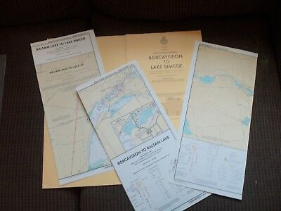 1972 3 Maps Bobcaygeon To Lake Simcoe Sm Craft Chart Trent-Severn Waterway. CA