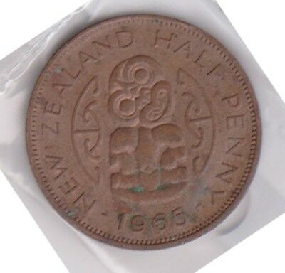 (H111-53) 1965 NZ 1/2 penny coin (BC)