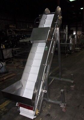 "Keenline Incline Cleated Stainless Steel Sanitary Conveyor 12"" X 7'"