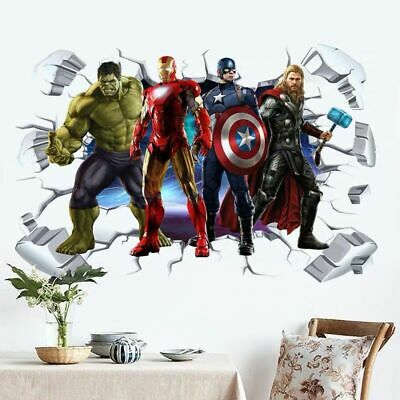2019 Super Hero Avengers Hulk Peel and Stick Wall Sticker Kids Room Stickers