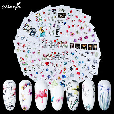 24 Sheets Nail Art Flower Flamingo Water Transfer Sticker Watermark Decal Decor