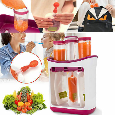 Baby Feeding Food Squeeze Station Toddler Infant Fruit Maker Dispenser Storage X