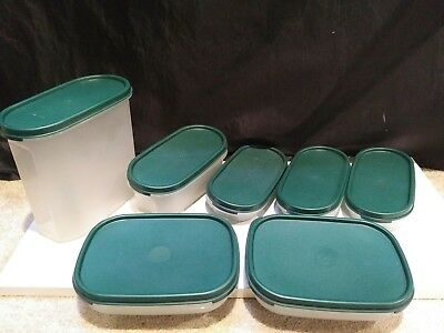 (7) Tupperware Modular Mates # 1613/1611/1873/1962 with GreenLids