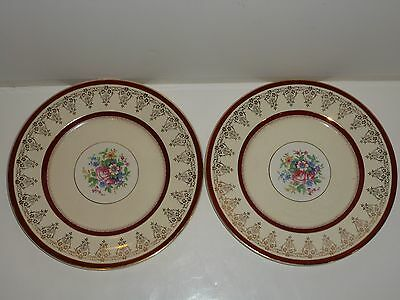 Vintage Myott Staffordshire 9377 Pair Dinner Plates, Florals, Deep Red Rims