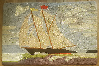 "VINTAGE lined CAPE COD 34.75"" x 23"" rectangular HOOKED RUG with SAILBOAT"