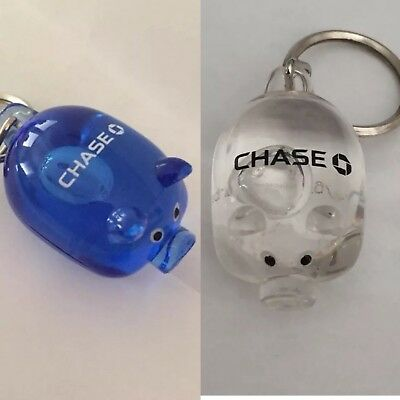 New ~  Set Of 2 CHASE BANK Pig Keychains ~ 1 Blue & 1 Clear! Chase Collectible!