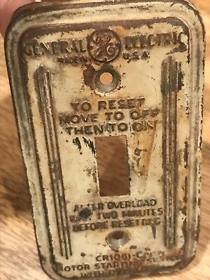 Old General Electric Advertising Metal Light Switch Cover art nouveau GE