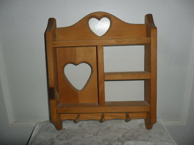 """Vintage Solid Wood Hanging Display Shelf With Cut Out Hearts - 13"""" Tall X 11.5"""""""