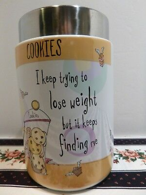 Cookie Jar Biscuit Barrel Stoneware Born to Shop  Lose Weight Johnson Brothers