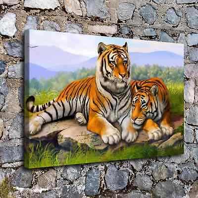 """Tiger Family 16x24"""" HD Canvas prints Painting Home Decor Picture Wall art Poster"""