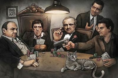 GANGSTERS PLAYING POKER POSTER Sopranos Godfather Goodfellas Scarface