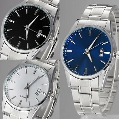 Men Casual Stainless Steel Band Quartz Analog Round Wrist Watch Christmas' Gift