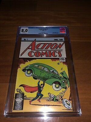 ACTION COMICS #1 - CGC 8.0 - WHITE PAGES 1988 REPRINT Superman 50th anniversary
