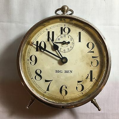 Antique 1914 Westclox Big Ben Alarm Clock - Peg Leg, Made in USA Collectible.