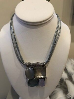 """Chico's 20"""" Necklace Large Pendant Leather Cord"""