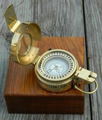 COLLECTIBLE Antique Nautical Brass Military Compass with wooden box Decor GIFT