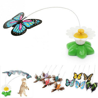 Electric Rotating Butterfly Bird Rod Wire Teaser Fun Play Toy For Pet Kitten Cat