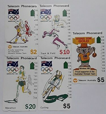1992 Telstra Phonecard BARCELONA OLYMPICS 5 CARDS Used Collectors Item