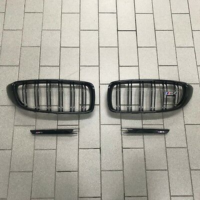 Brand New Genuine BMW F82 F83 M4 Gloss Black Kidney Grilles and Side Bars